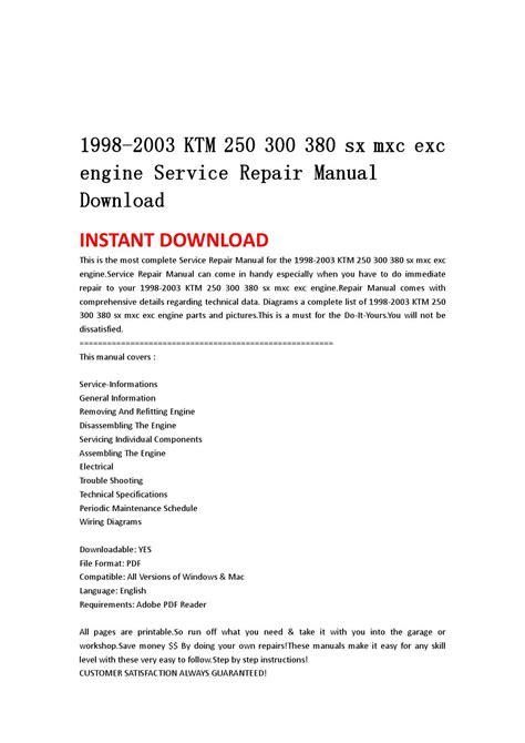 Ktm Mxc Exc Engine Service Repair