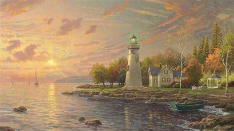 灯塔 绘画 水 阳光 房子 唯美风景壁纸-唯美壁纸-壁纸下载-彼岸桌面