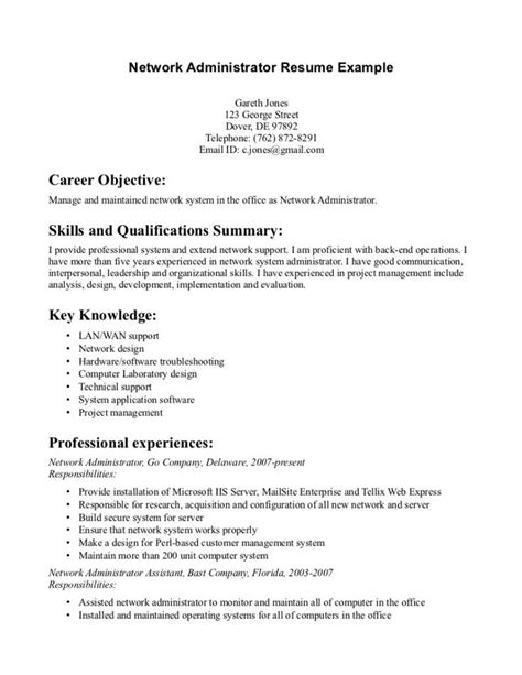 system administrator resume objective resume sles