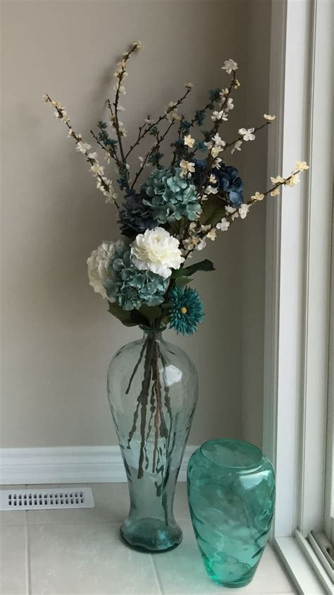 Teal Glass Floor Vase by Sea Glass Floor Vase With Flowers Decor Ideas Pinte