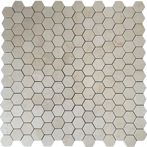 2 Hexagon Marble Floor Tile by Crema Marfil Marble 2x2 Hexagon Mosaic Tile Honed