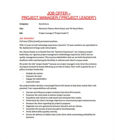 appointment letter for project manager template 28
