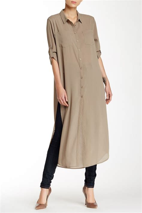 sleeve denim dress with belt cecico sleeve split side maxi tunic sleeve style