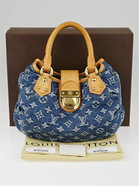 louis vuitton blue monogram denim pleaty bag yoogis closet