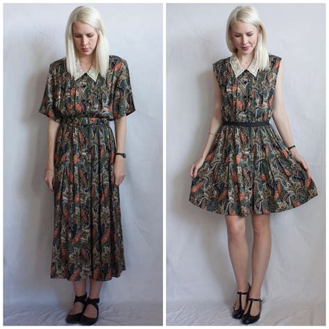 ladygirl vintage paisley pleated  dress makeover