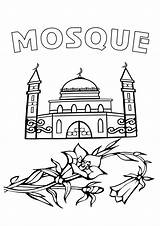Mosque Coloring Pages Coloringway Print Building sketch template