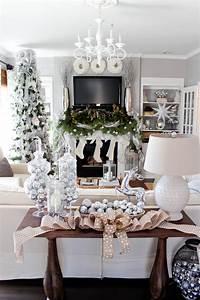 Mantle, Garland, White, U0026, Silver, Christmas, Tree