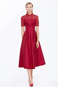 Prom Dresses Online - Wine Red Lace Short Sleeves A-Line ...