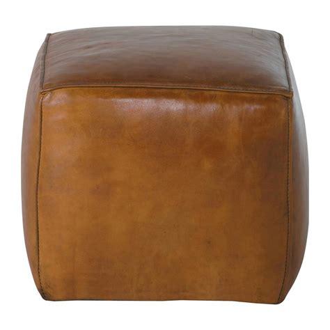 pouf carr 233 cuir marron clair sam maisons du monde
