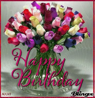 colorful bouquet  roses happy birthday image pictures