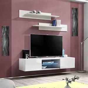 Meuble Design Tv Mural : meuble tv mural design fly iii 160cm blanc ~ Teatrodelosmanantiales.com Idées de Décoration