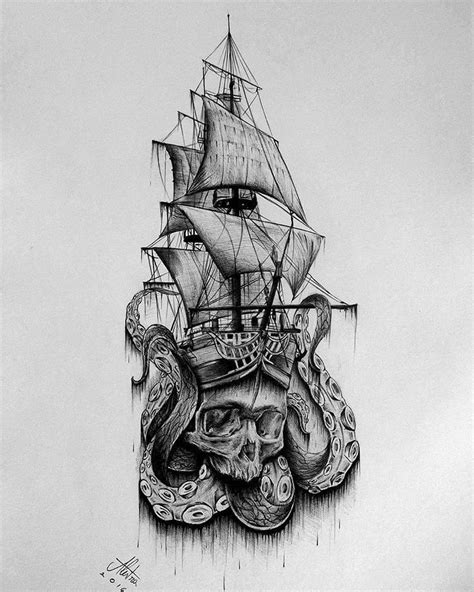 Ship Tattoo Design Art