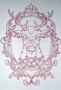 Awesome Deer Head In Frame Tattoo Design For Shoulder