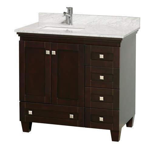 36 vanity with sink acclaim 36 quot espresso bathroom vanity set white carrera or