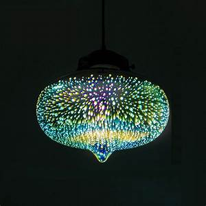 Decorative d glass shade colored pendant light