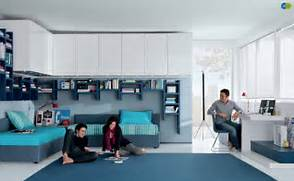 Cool Teen Room Aqua White Contemporary Teenagers Room