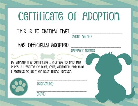 dog birth certificates adoption certificate template green professional and