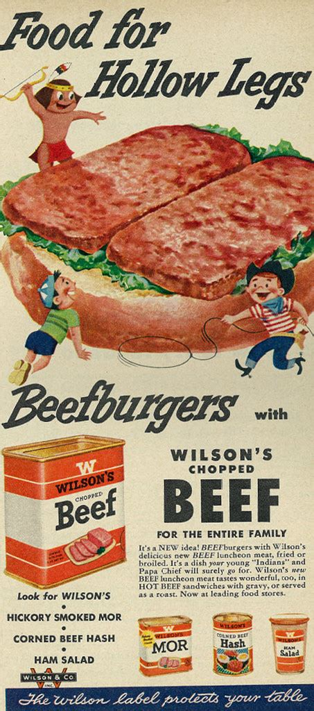 cuisine ad 1954 illustrated food ad wilson 39 s chopped beef quot food for
