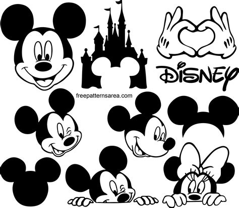 Mickey Mouse Silhouette Vector Images | FreePatternsArea