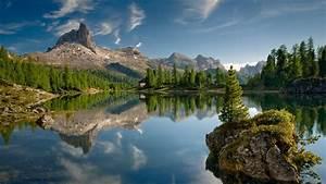 Nature, Landscape, Mountain, Trees, Rock, Water, Lake