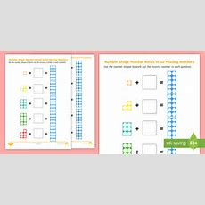 * New * Number Shapes Number Bonds To 10 Missing Numbers Worksheets Eyfs