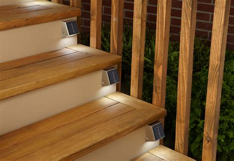 solar lights for deck stairs set of 4 solar powered lights sharper image
