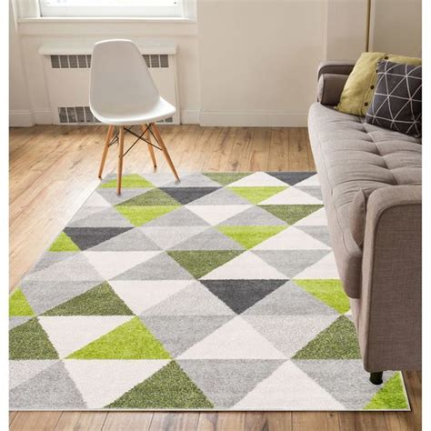 Wellwoven Mid Century Modern Geometric Triangles Area Rug