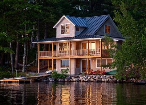 lake cottage lake cabin lake house  balcony cabin