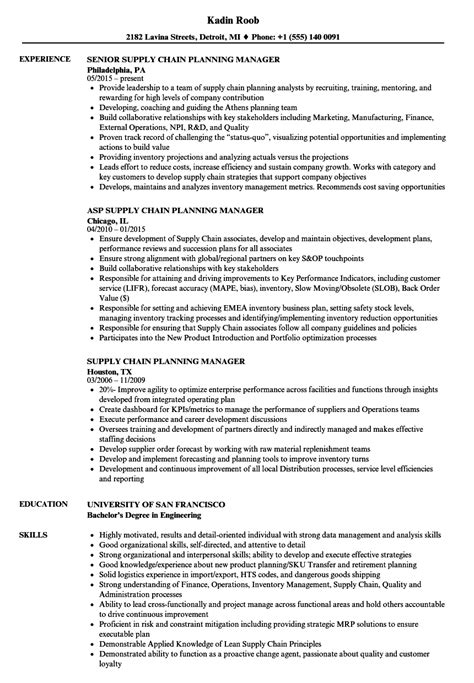supply chain planning manager resume sles velvet