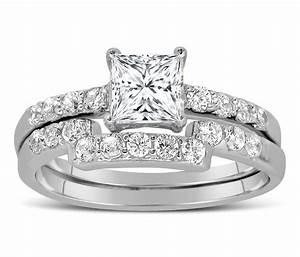 1 carat princess cut diamond wedding ring set in white With white gold princess cut diamond wedding rings