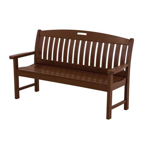 polywood nautical 60 in mahogany patio bench nb60ma the