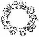 Circle Children Different Mandala Monde Kleurplaten Races Enfants Kringetje Boyama Maken Een Kinderen Happy Vector Clipart Kleurplaat Nisan Thema Picasa sketch template