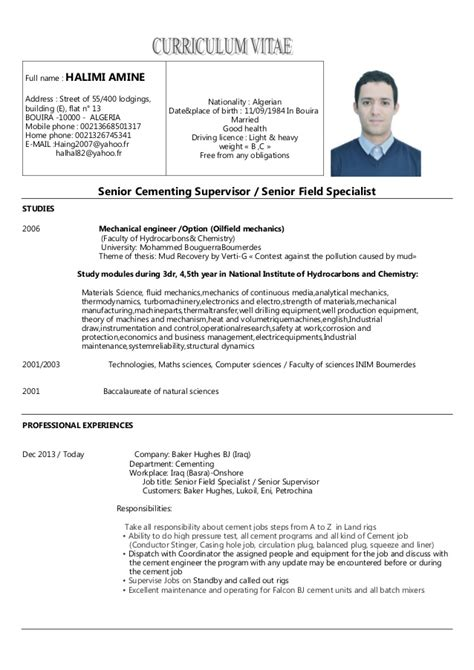 Electrical Supervisor Curriculum Vitae by Cv Amine Halimi Oilfield Senior Cementing Supervisor