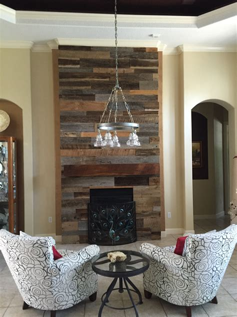 lynns reclaimed wood accent wall  custom mantle
