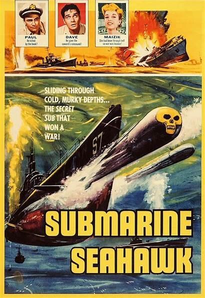 Submarine Movies 1958 Submarines Seahawk American Poster