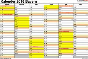 Kalender Zum Ausdrucken 2016 : kalender 2016 bayern ferien feiertage excel vorlagen ~ Whattoseeinmadrid.com Haus und Dekorationen
