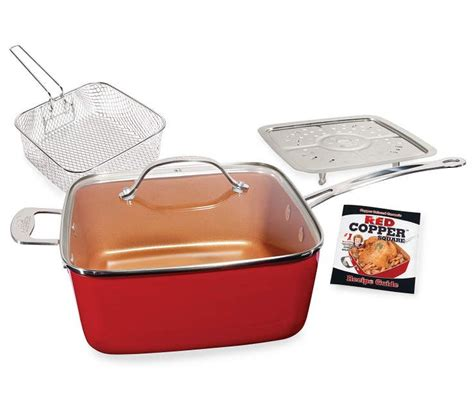 tv red copper square pan  piece set big lots   red copper cookware red