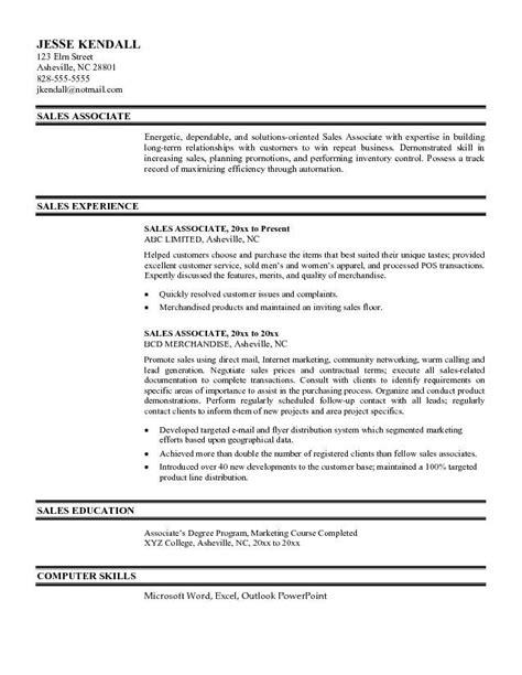 Exle Of Sales Associate Resume by Sales Associate Resume Exle Http Www Resumecareer