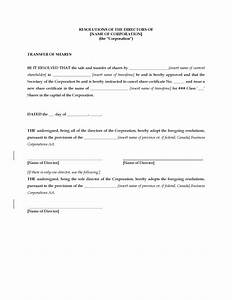 Share Certificate Template Canada Canada Directors Resolution Approving Share Transfer
