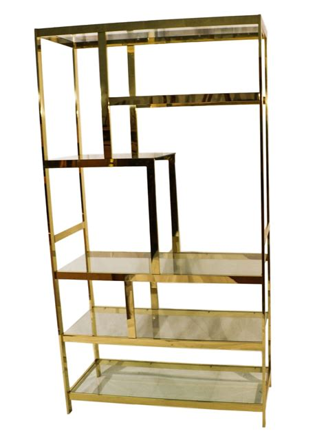 Brass And Glass Etagere by Mid Century Milo Baughman Brass Glass Etagere