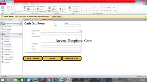 ms access  invoice tracking template access
