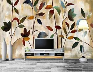 Custom papel de parede,Painting abstract color leaves ...