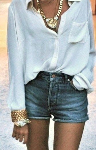 flowy white blouse high waisted jean shorts gold