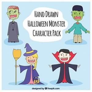 Gruselige Halloween Kostüme : vier gruselige kost me f r halloween download der kostenlosen vektor ~ Frokenaadalensverden.com Haus und Dekorationen