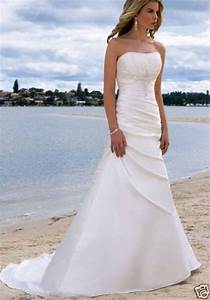 new strapless white ivory beach gown beach wedding dress With ebay wedding dresses size 8