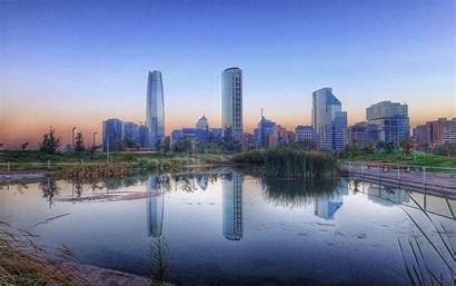 Santiago Chile Skyscraper Landscape Nature Sunrise Pond