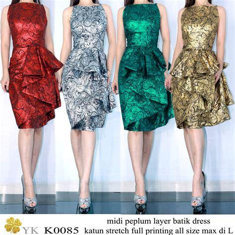 jual dress pesta batik merah silver gold hijau metalic