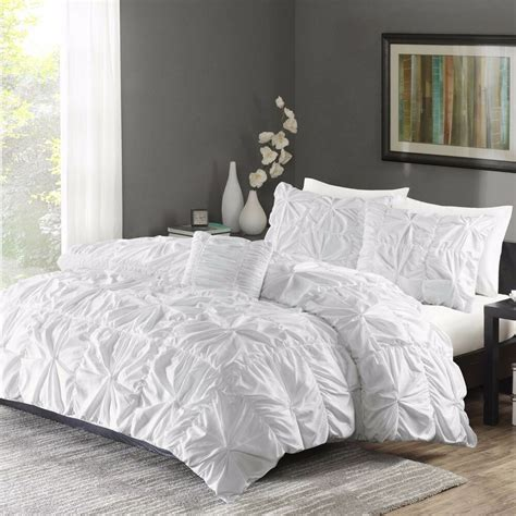 ruched bedding king size bed white duvet cover shams 4 twist 714573899380 ebay