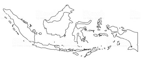 indonesia map outline graphic freehand drawing  white