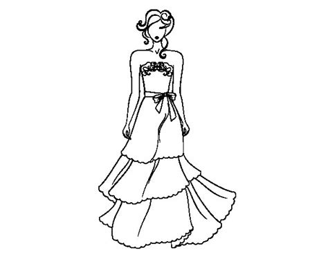 Strapless Wedding Dress Coloring Page Coloringcrewcom
